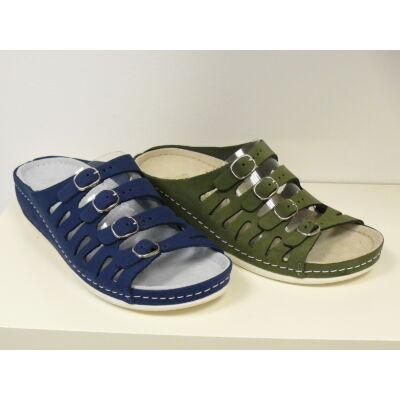 Biokomfort női papucs 4 csattal zöld